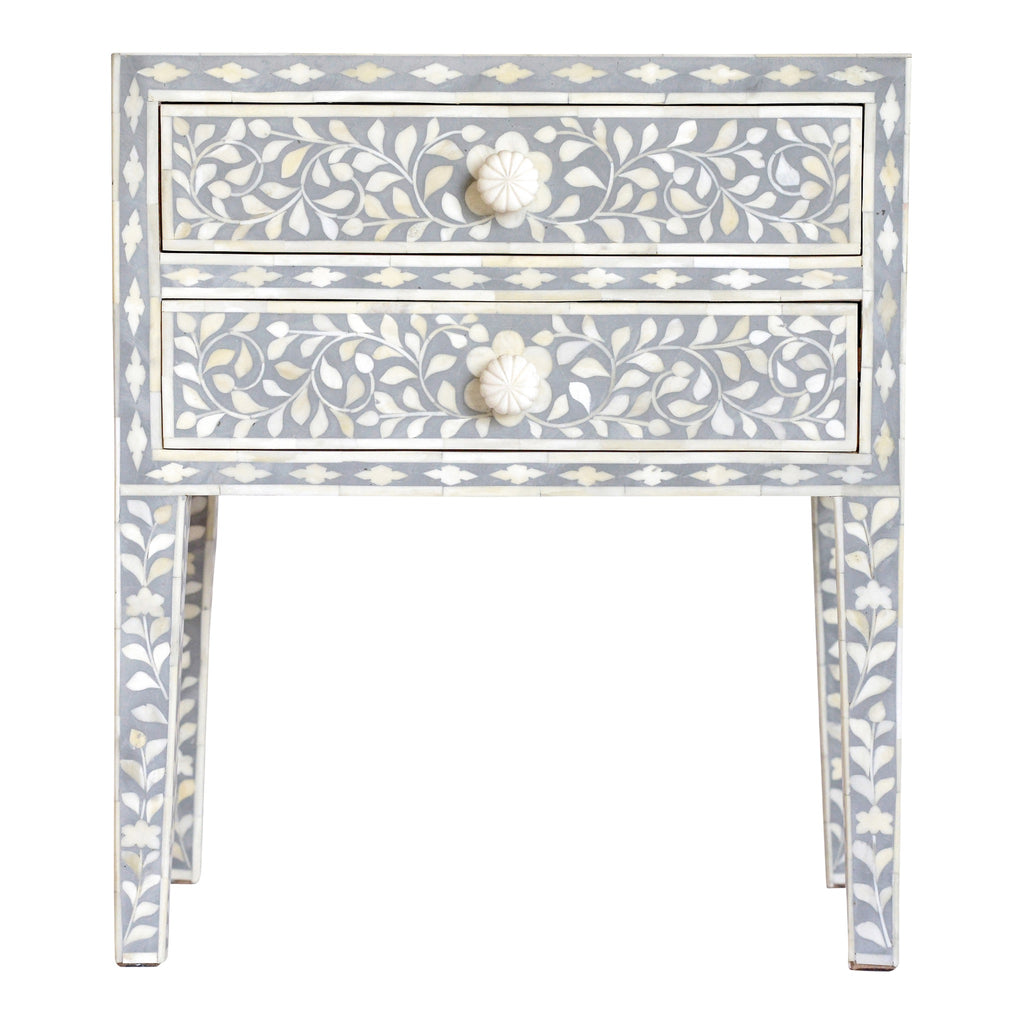Bone Inlay Bedside Table in Grey Floral
