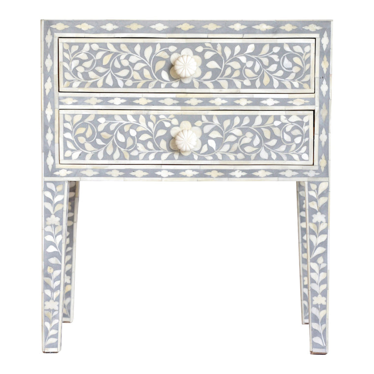 Bone Inlay Bedside Table | Grey Floral