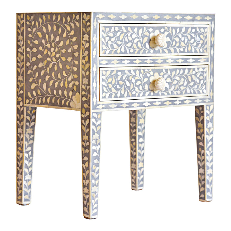 Grey Bone Inlay Bedside Table