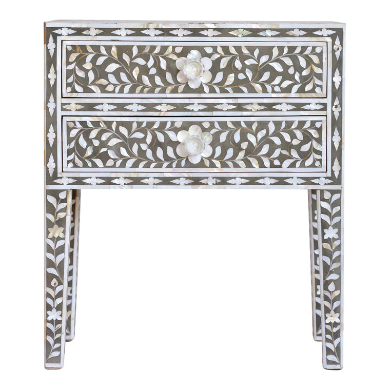 Mother of Pearl Bedside Table | Dark Grey Floral