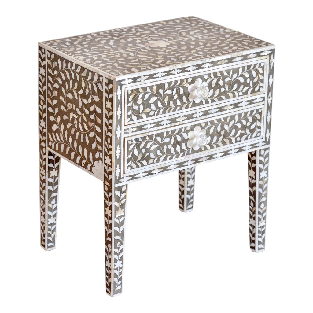 Mother of Pearl Bedside Table in Dark Grey Floral