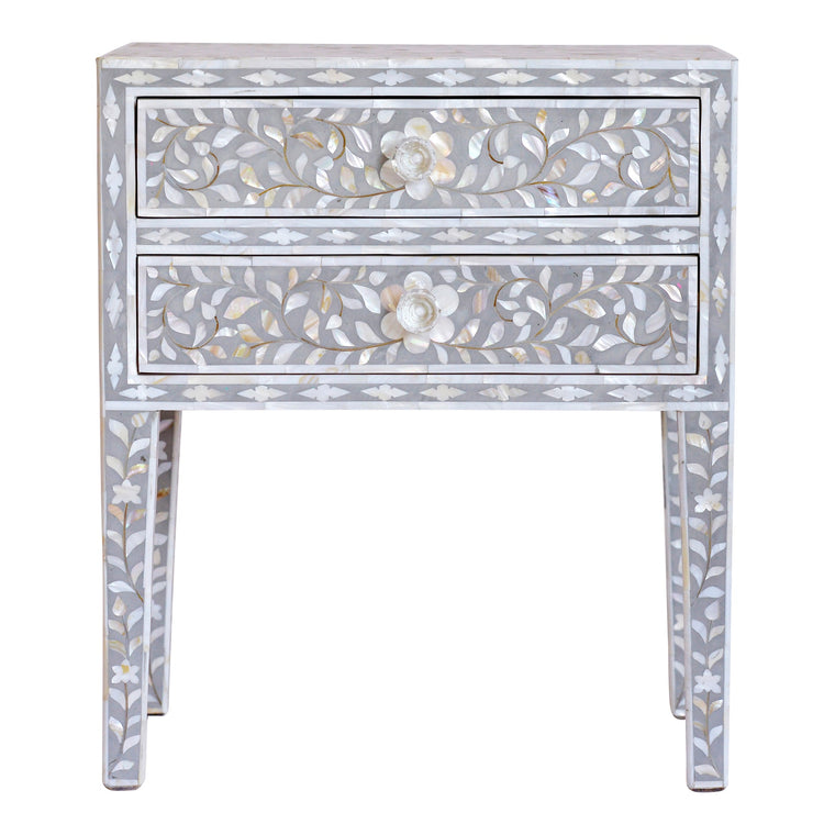 Mother of Pearl Bedside Table | Light Grey Floral