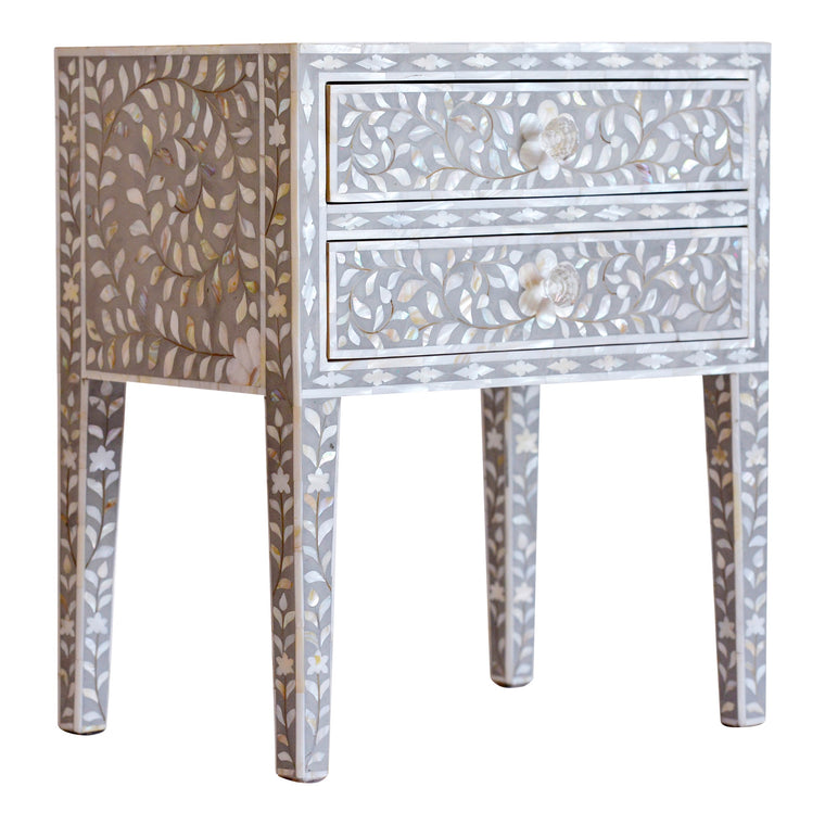 Mother of Pearl Bedside Table, Grey Floral