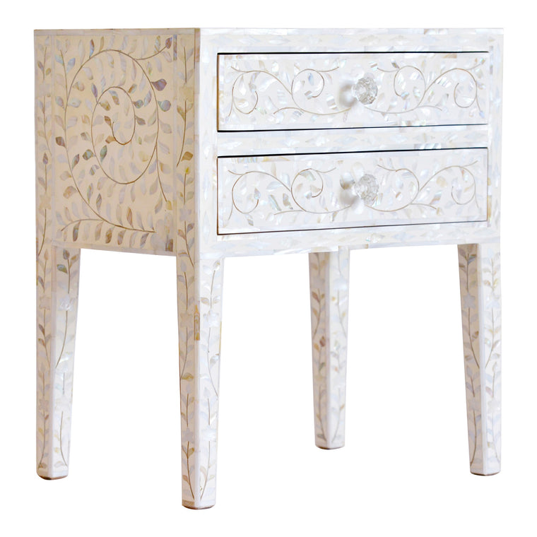 Luxury bedside storage, white mother of pearl, bedside table