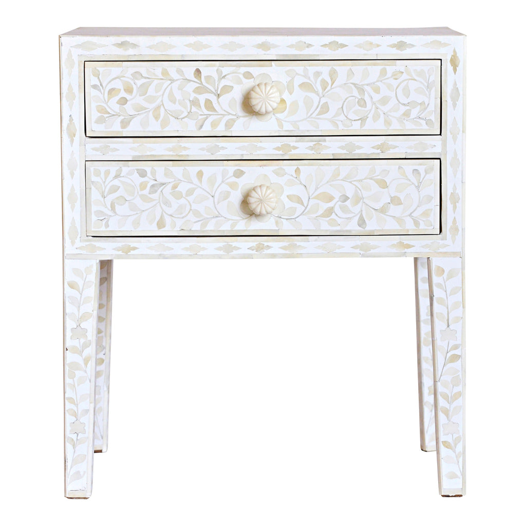 Bone Inlay Bedside Table in White Floral
