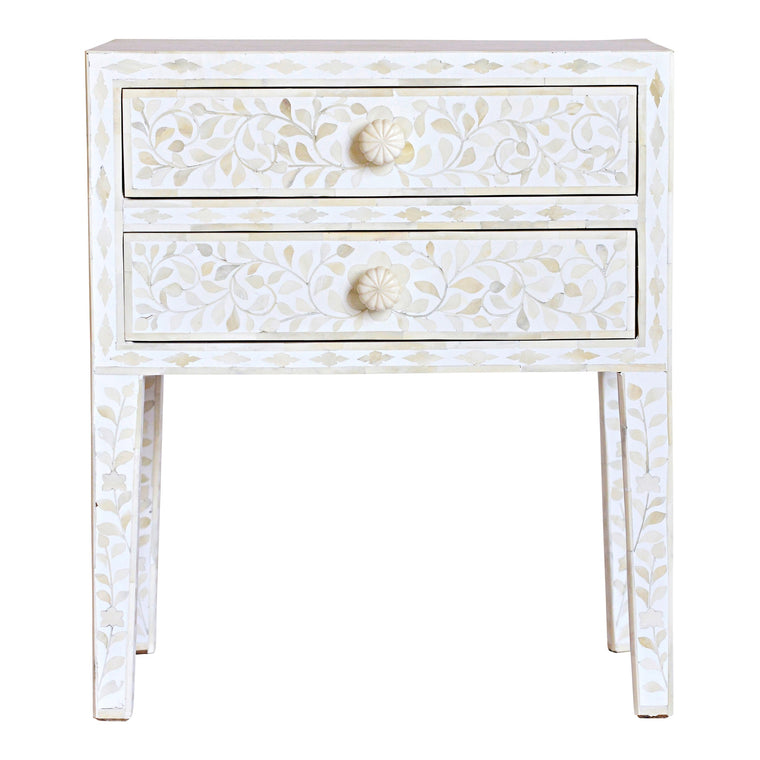 Bone Inlay Bedside Table | White Floral