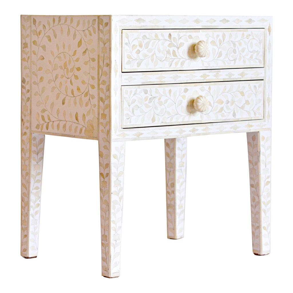White Bone Inlay Bedside Storage