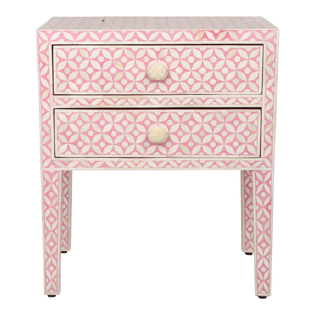Bone Inlay Bedside Table in Pink Geometric Pattern
