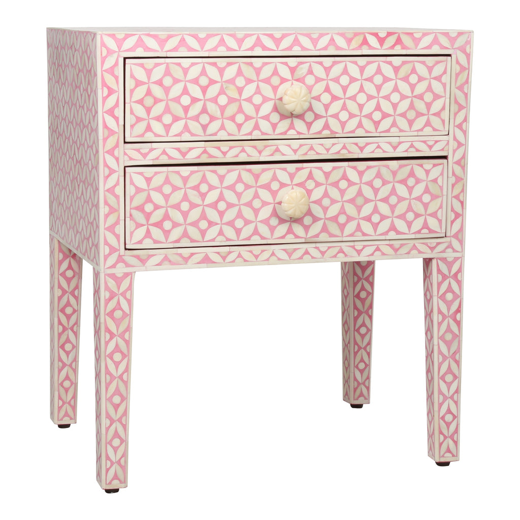 Bone Inlay Bedside Table in Pink