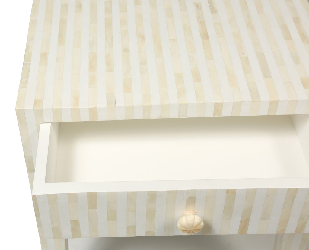 Bone Inlay Bedside Table in white stripe