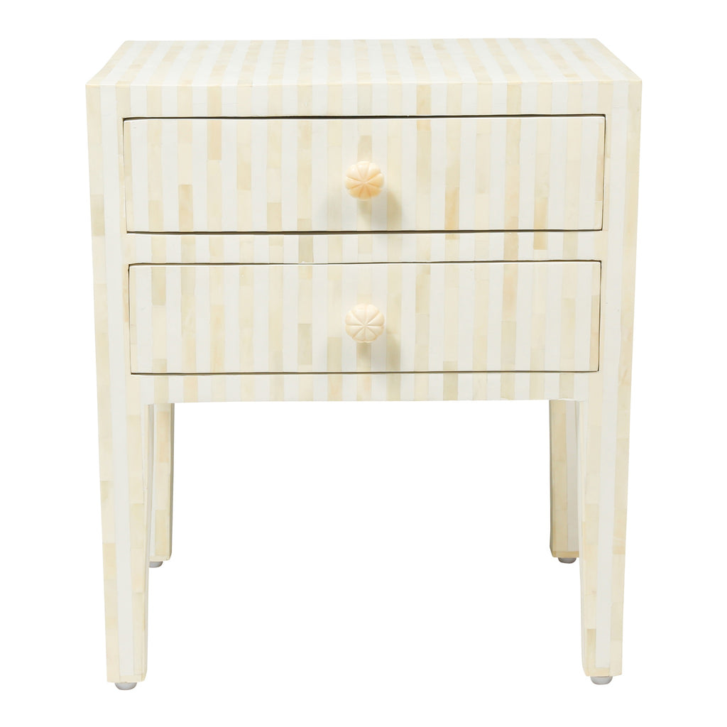 Bone Inlay Bedside Table in Stripe White