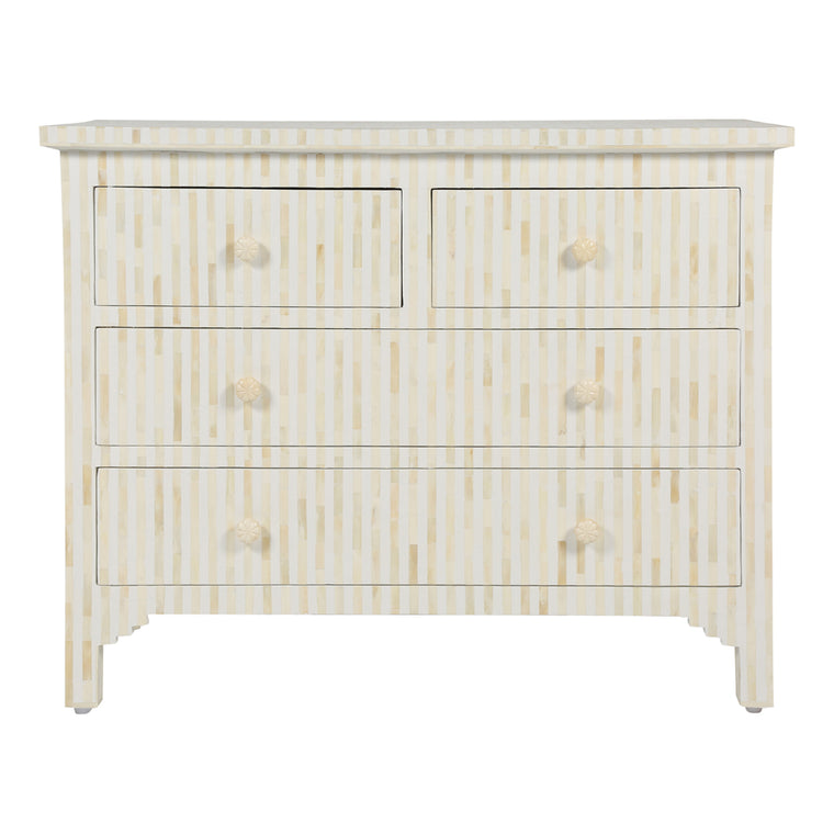 Bone Inlay 4-Drawer Chest | White Stripe