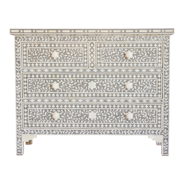 Bone Inlay 4-Drawer Chest | Grey Floral