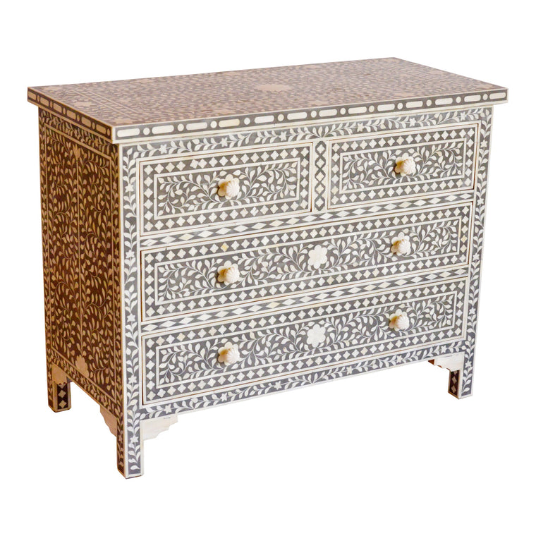 Bone Inlay Drawers in Grey Floral, Chest of Drawers, Grey Luxury drawers,