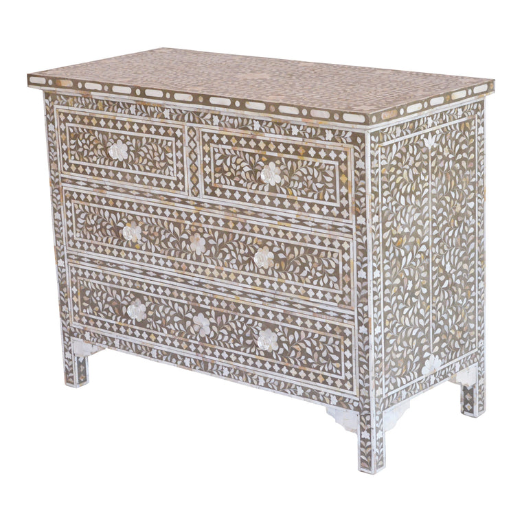 Mother of Pearl 4-Drawer Chest in Floral Dark Grey