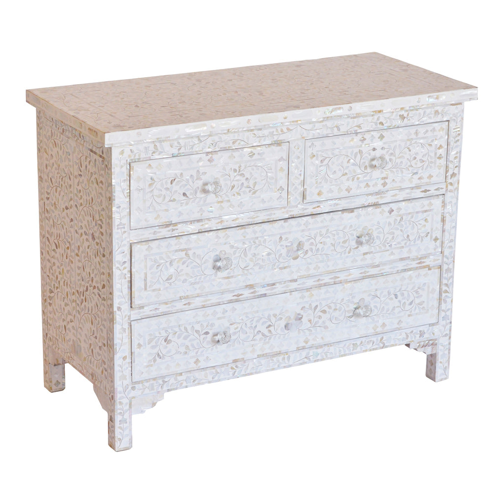 Mother of Pearl 4 Drawer chest in floral white