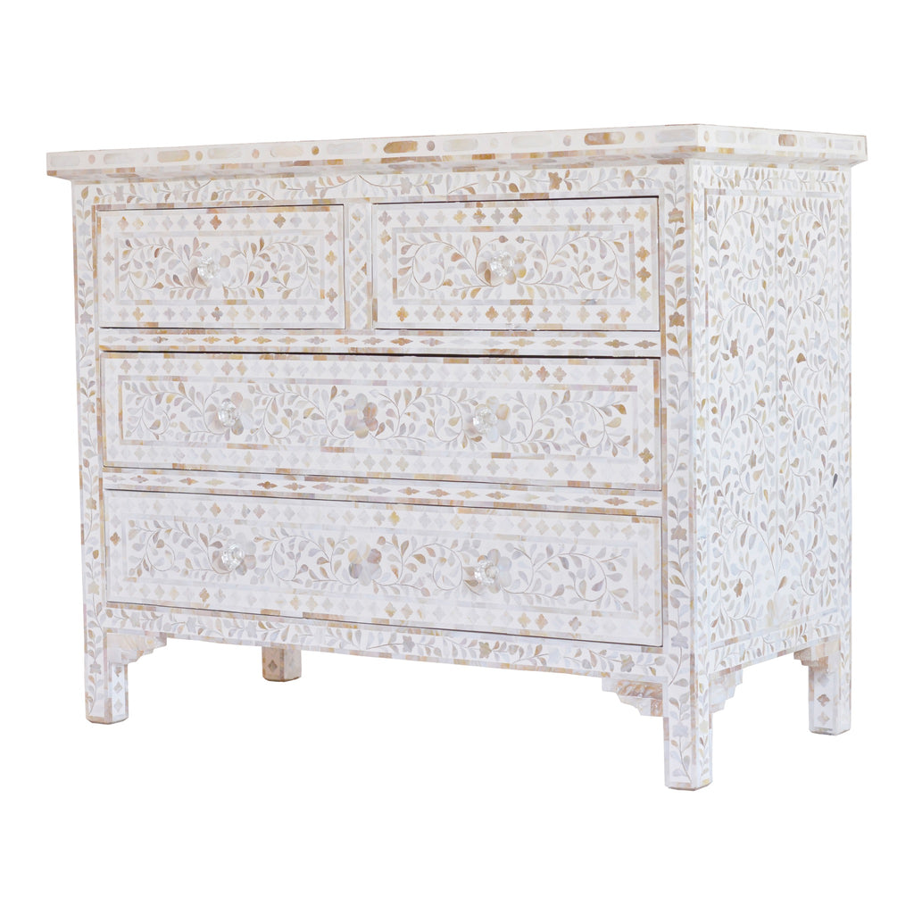 Mother of pearl chest of drawers in floral white