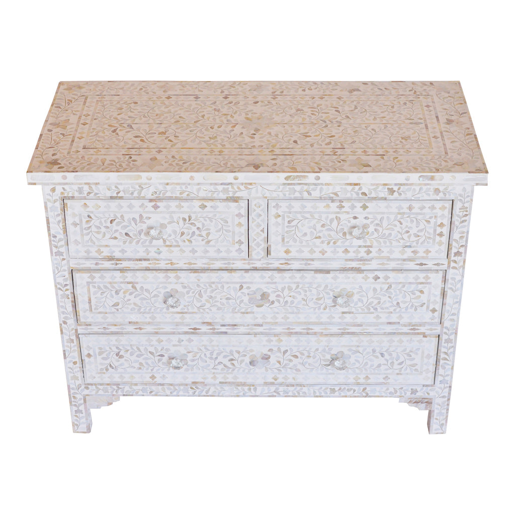 Mother of Pearl Chest of Drawers in white