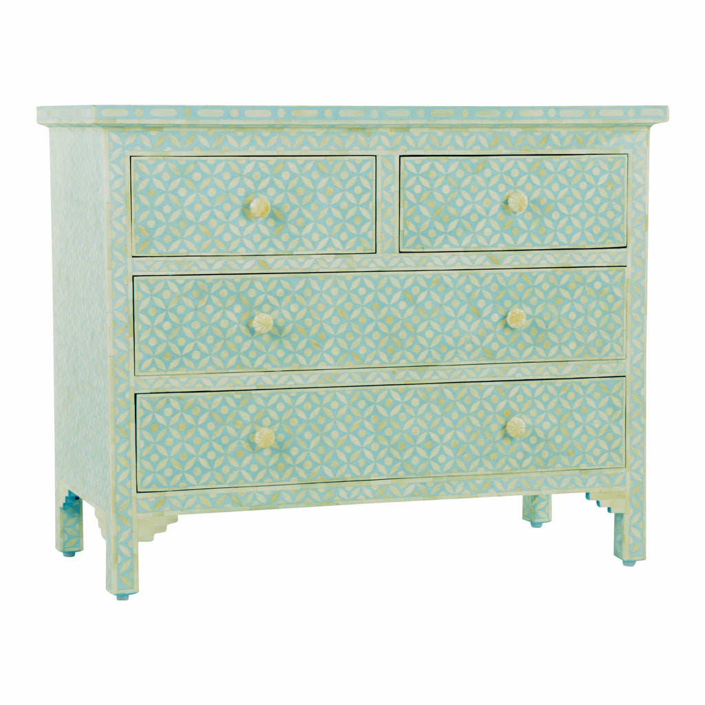 Bone Inlay 4 Drawer Chest in Geometric Duck Egg Blue