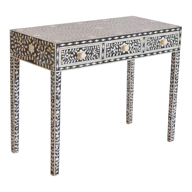 Bone Inlay Console Table | Black Floral