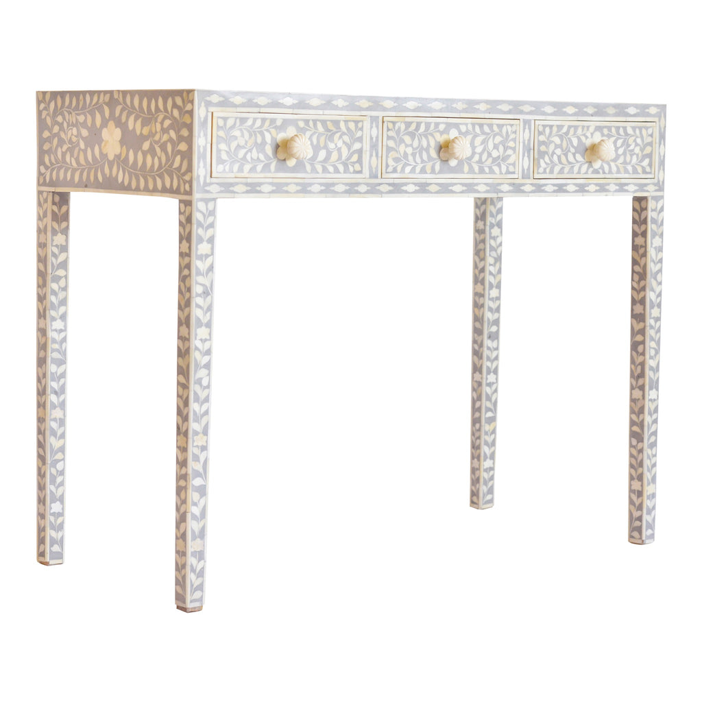 Bone Inlay Console Table in Grey Floral