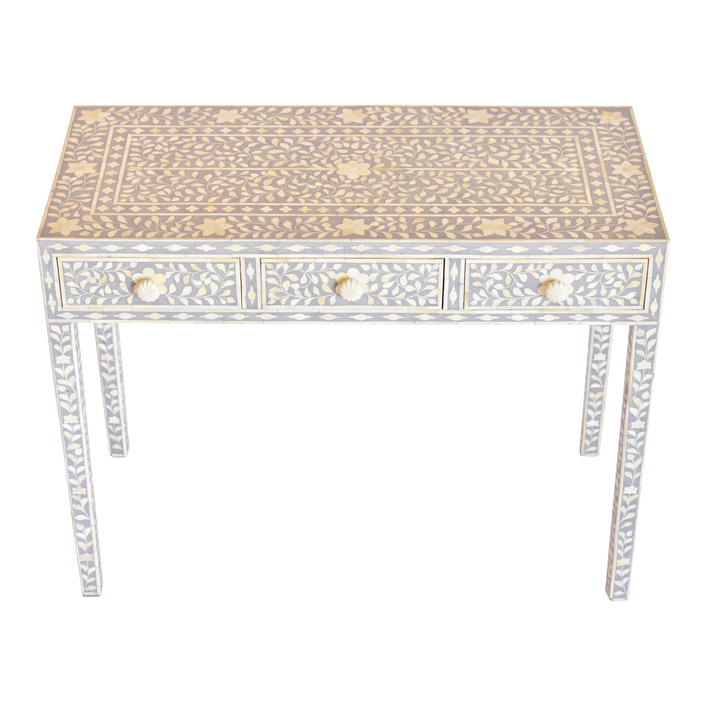 White And Gray Bone Inlay Accent Table: Bone Inlay Console Table