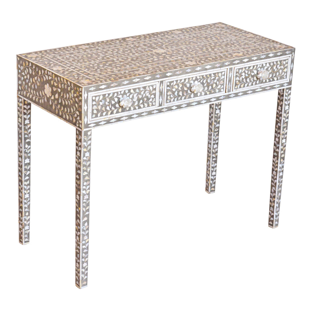 Mother Of Pearl Console Table Dark Grey Floral Bone
