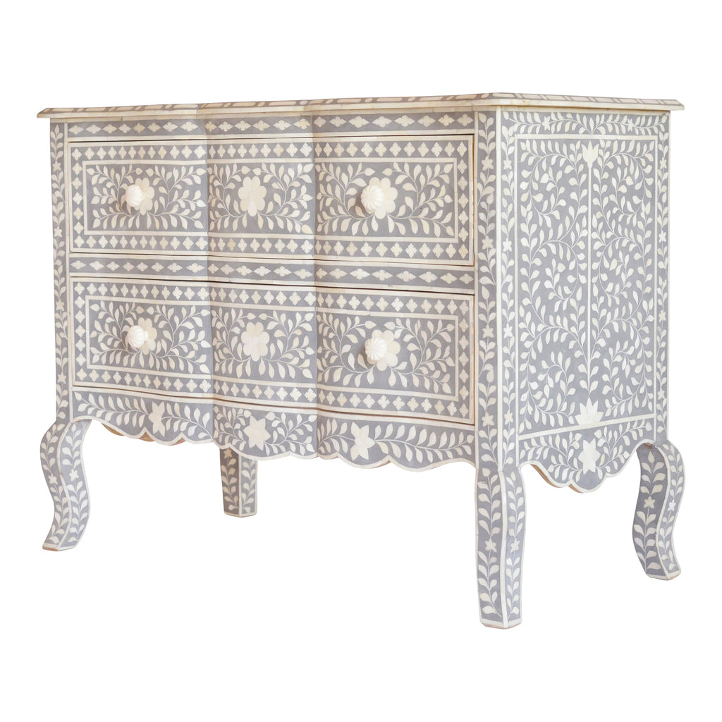 Bone Inlay French Chest of Drawers in Floral Grey