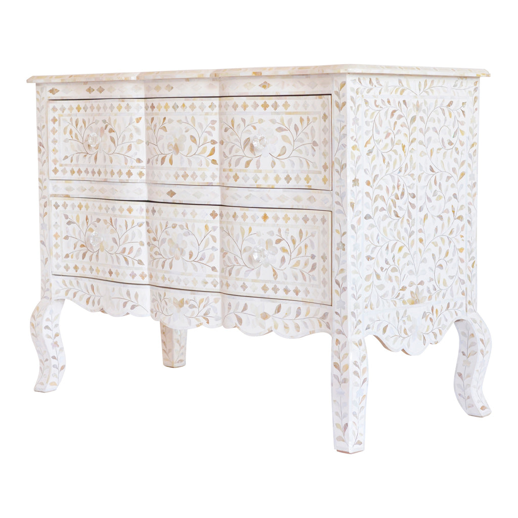 Mother of Pearl French Drawers in White