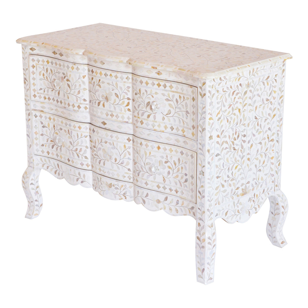 French Chest of Drawers in White Mother of Pearl