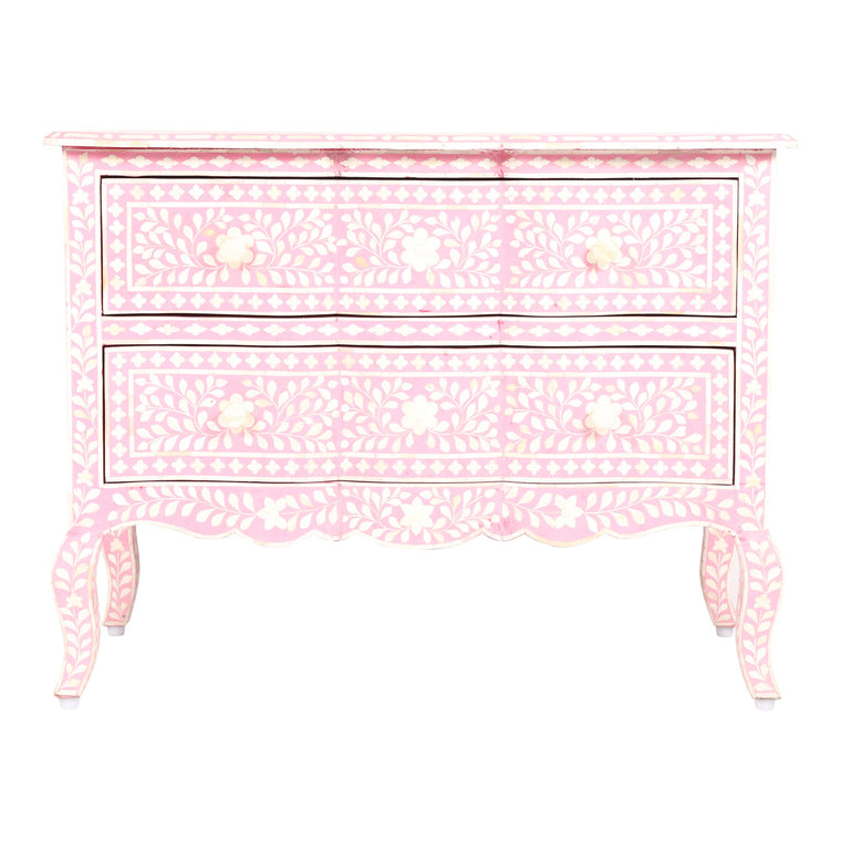 Bone Inlay French Drawers | Baby Pink