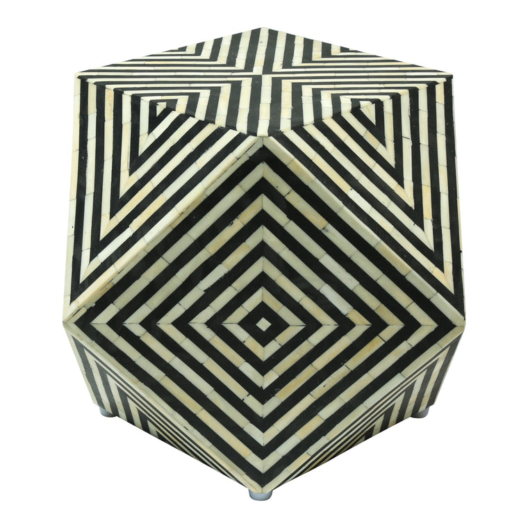 Bone Inlay Gem Side Table | Black