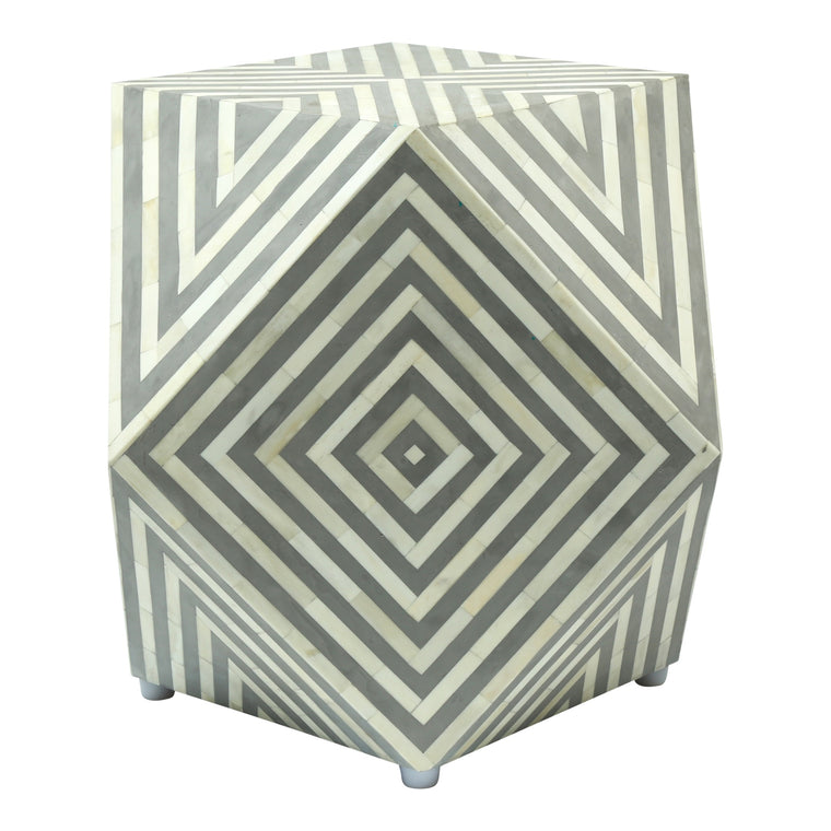 Bone Inlay Gem Side Table | Grey