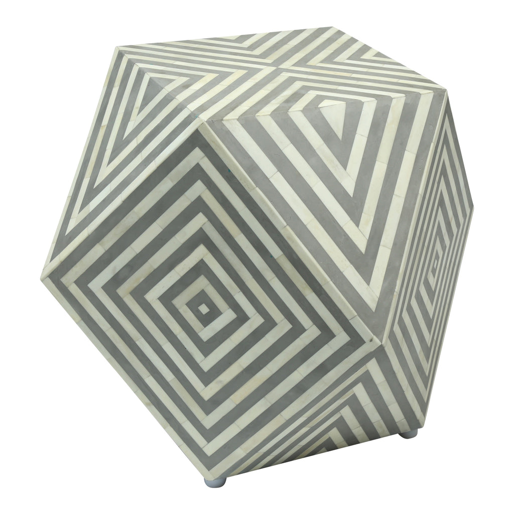 White And Gray Bone Inlay Accent Table: Bone Inlay Gem Side Table