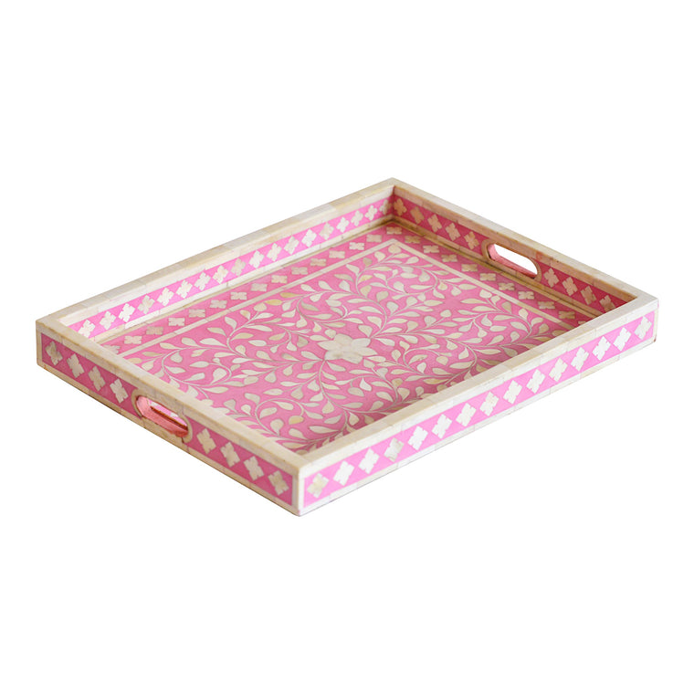 Bone Inlay Rectangle Tray | Baby Pink Floral