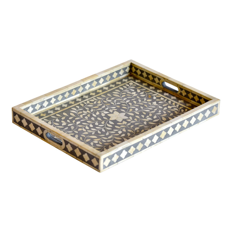 Bone Inlay Rectangle Tray | Grey Floral