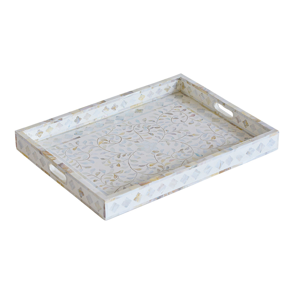 Mother of Pearl Rectangle Tray in White