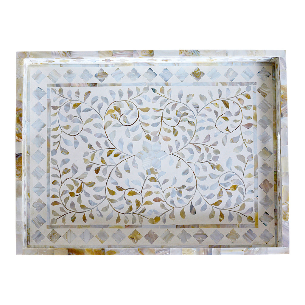 Mother of Pearl Tray, White Rectangle Tray, White luxury Tray