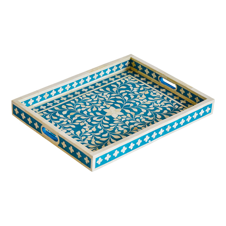 Bone Inlay Rectangle Tray | Turquoise Floral