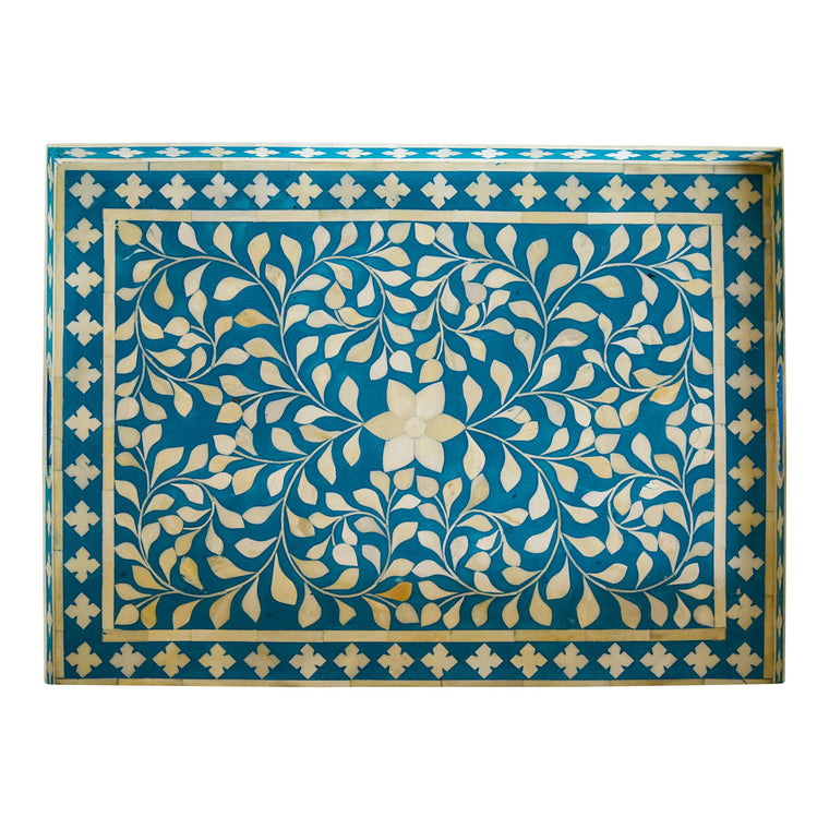 Bone Inlay Rectangle Tray, Turquoise Tray