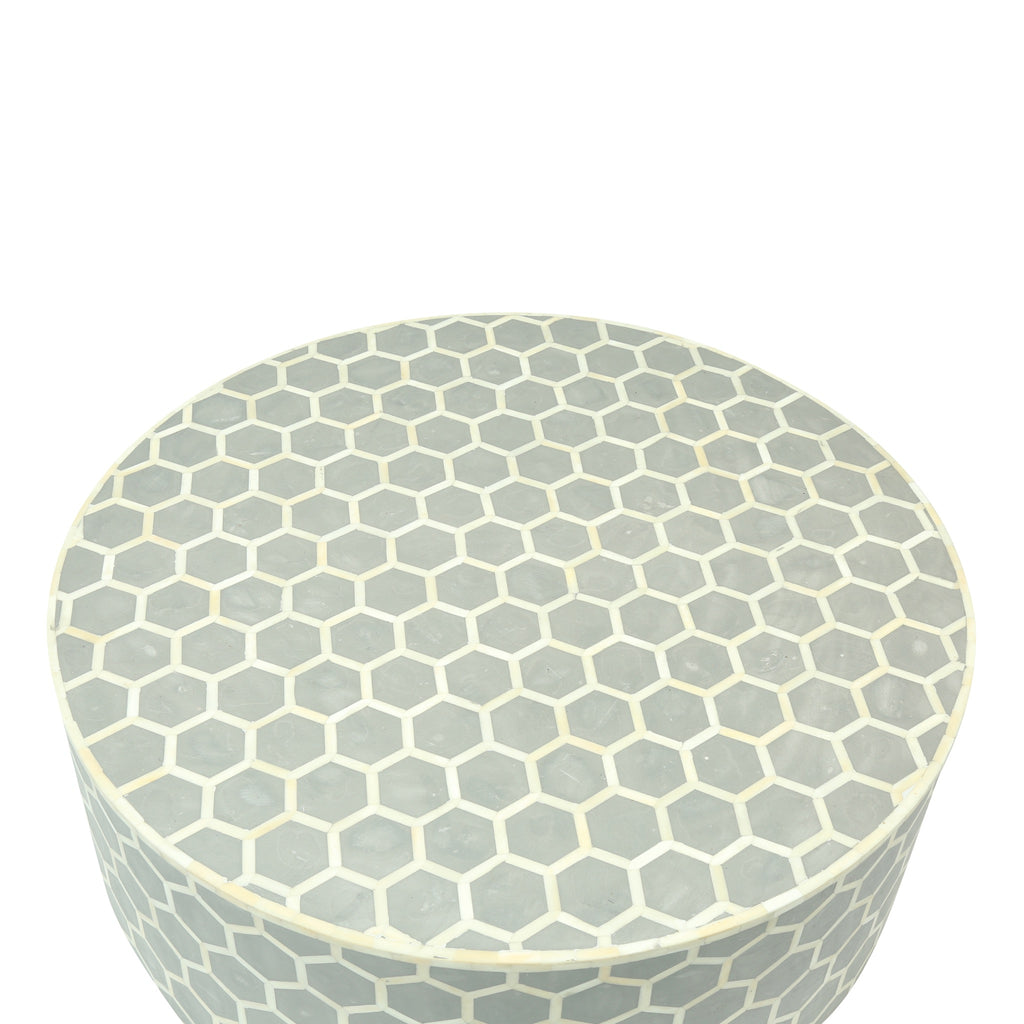 Round Bone Inlay Coffee Table in Grey Honeycomb