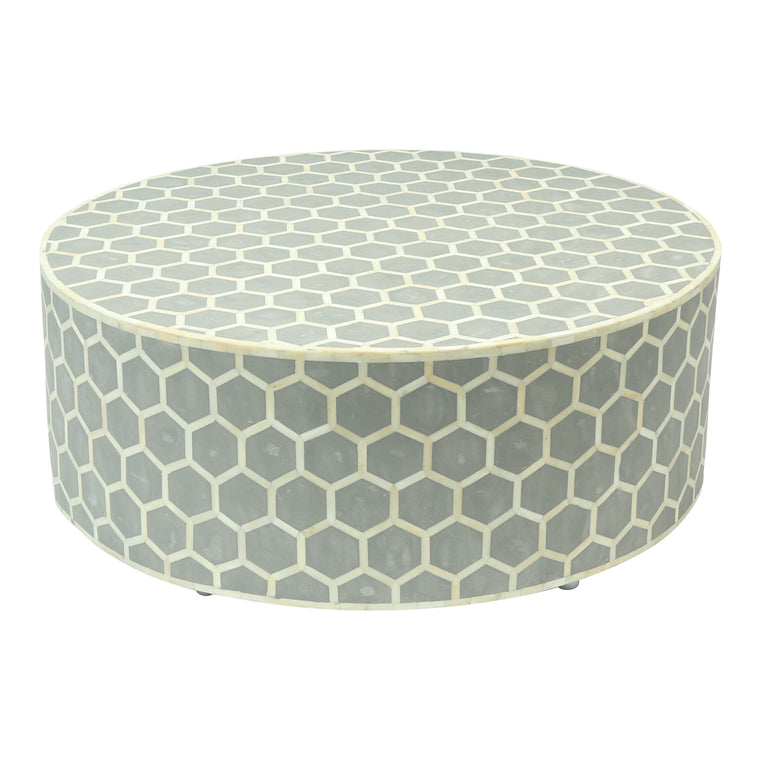 Bone Inlay Coffee Table Round | Grey Honeycomb