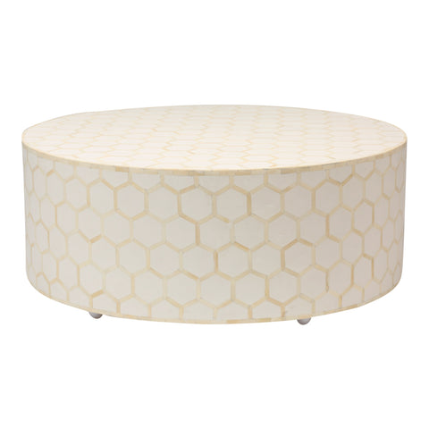 Round Bone Inlay Coffee Table in White Honeycomb