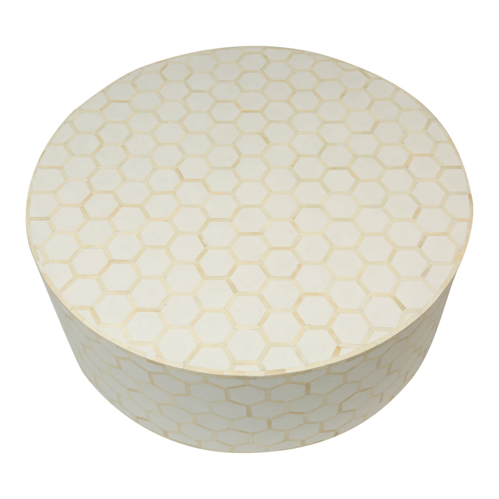 Bone Inlay Coffee Table Round in white honeycomb
