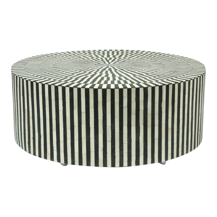 Bone Inlay Coffee Table Round | Black Stripe