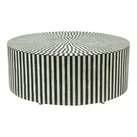 Black and white stripe Bone Inlay coffee table