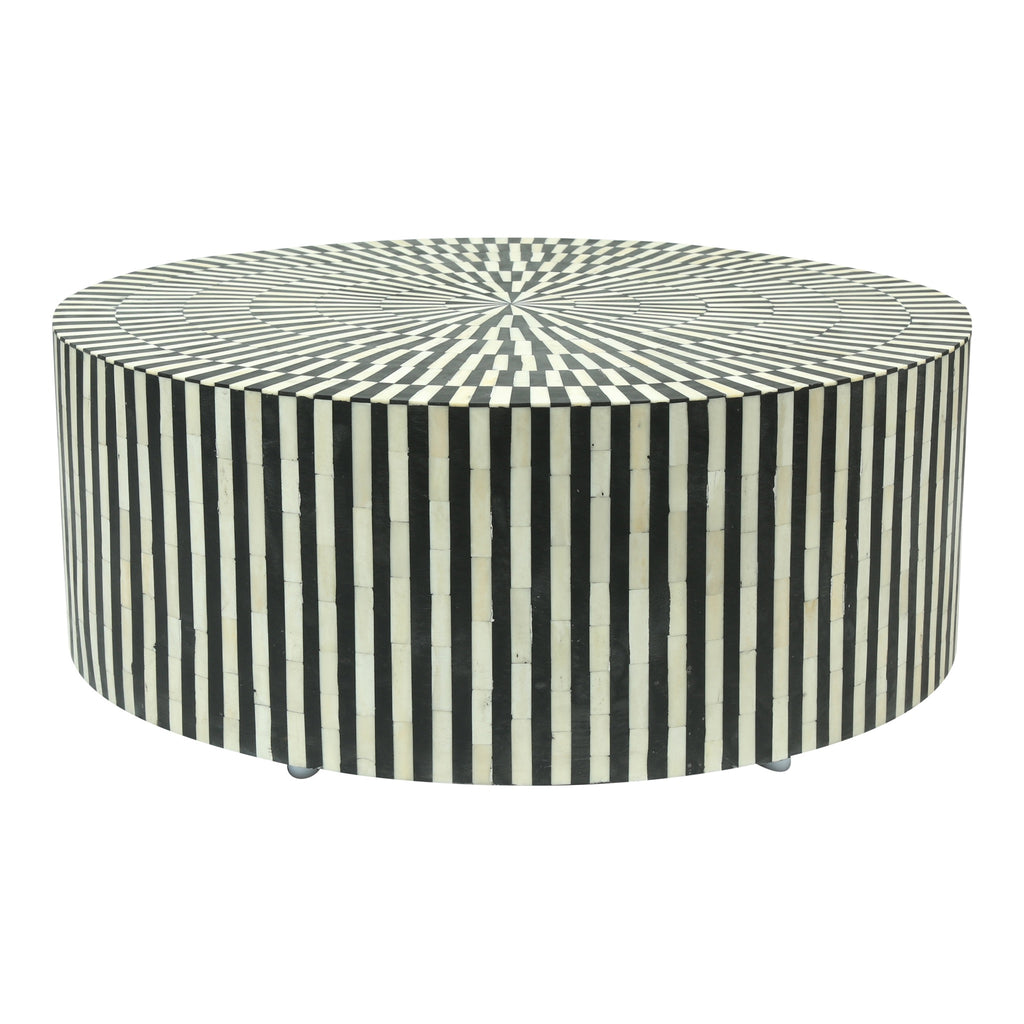 Bone Inlay Coffee Table Black and white stripe