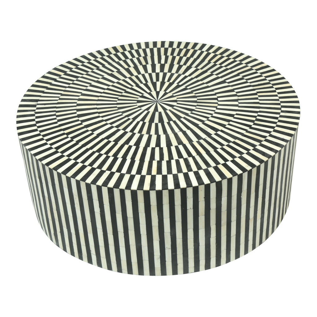 Bone Inlay coffee table black stripe