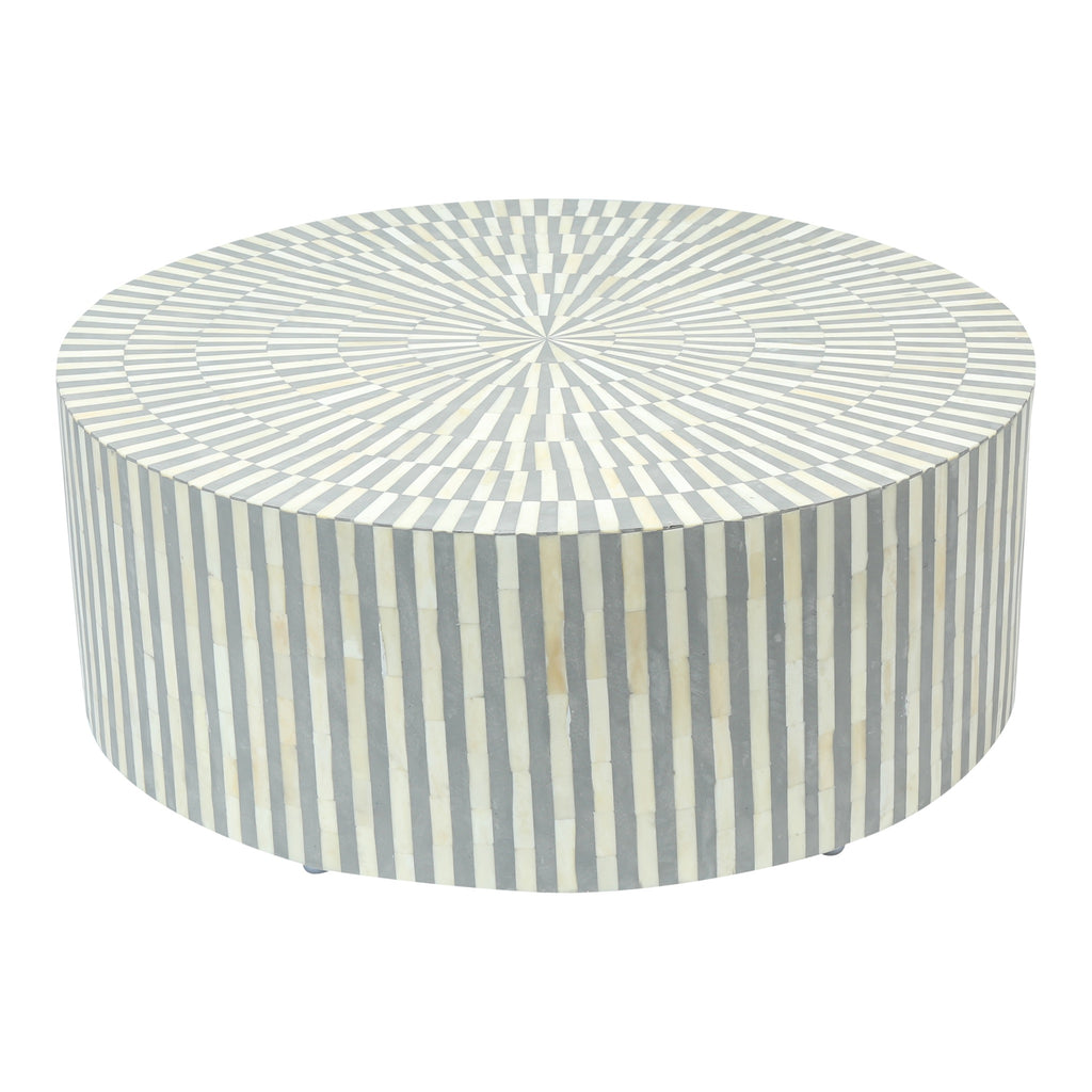 Bone Inlay Coffee Table in grey and white stripe