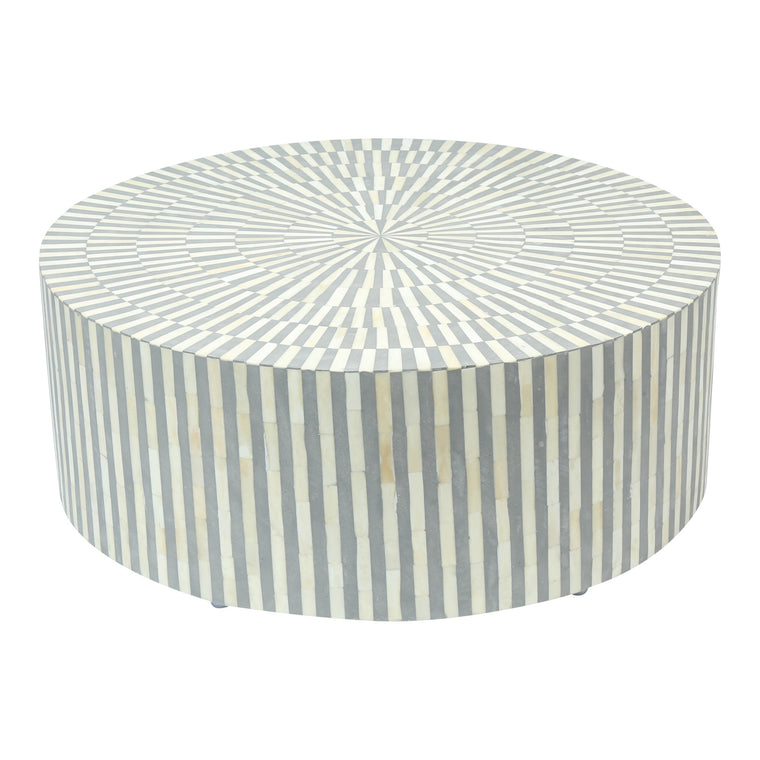 Round Bone Inlay Coffee Table in Grey stripe